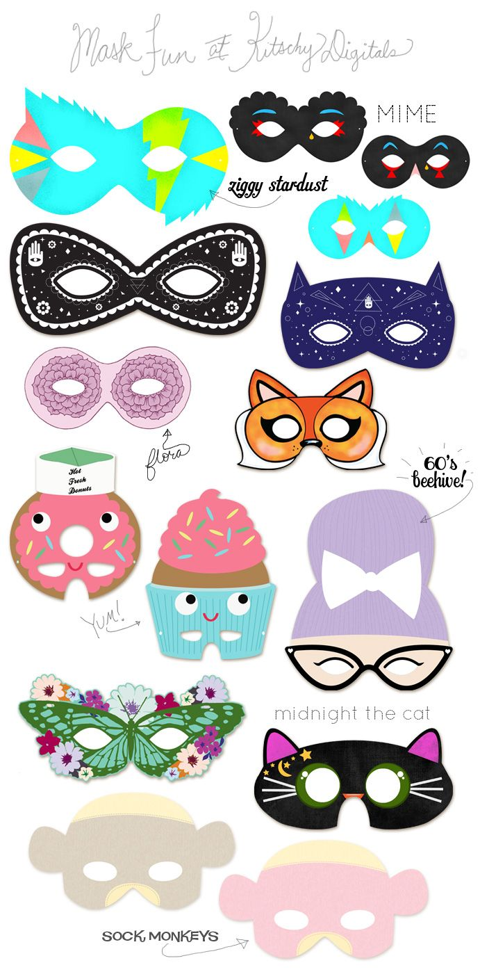 A Kitschy Digitals Collaboration: Printable Masks!