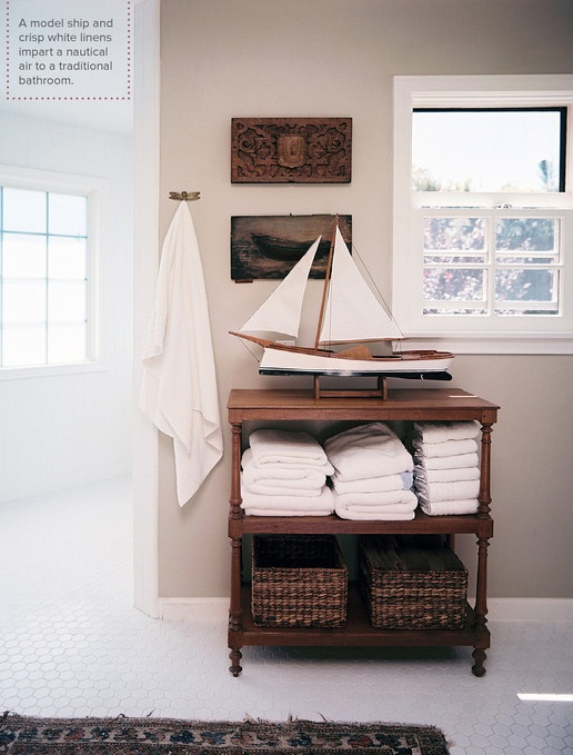 Traditional Bathroom: Nautical Themed Bathroom With White Tile Floors.