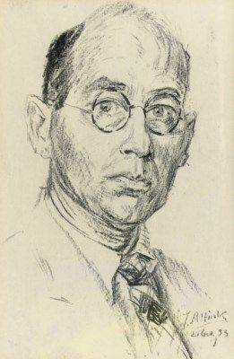 Jan Altink (1885-1971) Self portrait digned and dated  'J. Altink/21 (..),33 chalk on paper 41 x 26.5 cm.