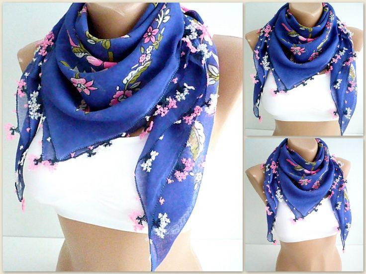 Turkish needle laced antique scarf / Handicraft vintage foulard / cotton, saxe blue, floral printed versatile kerchief / unique gift idea by TurkishHands on Etsy