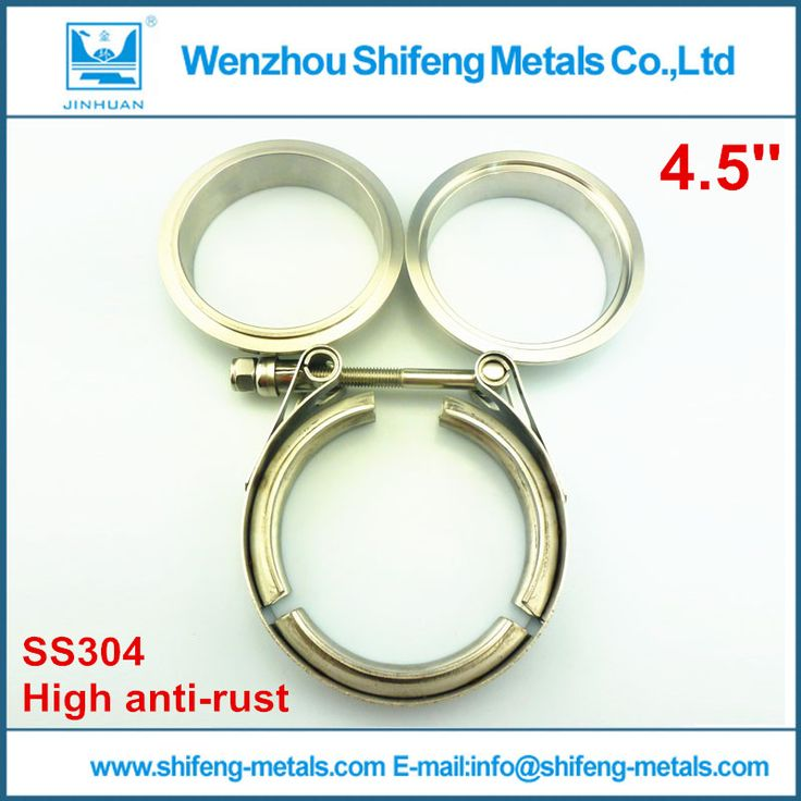 "4.5"" inch Full made of 304 stainless steel clamp and flanges T bolt V-band clamp with male and female flanges kit"