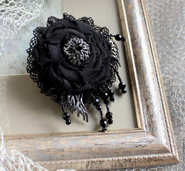 Купить Текстильная бохо-брошь Черный и серебро - Елена Кожевникова, текстильная…