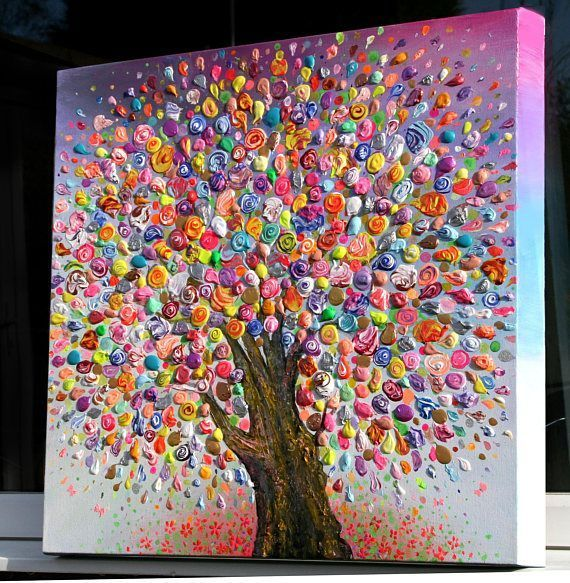 Fashion Framed Colorful Tree Abstract Picture Canvas Print Paintings Home Wall A…