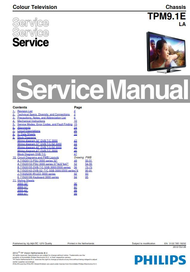 Philips 32pfl3017h Tv Service Manual And Repair Instructions Philips Manual Repair