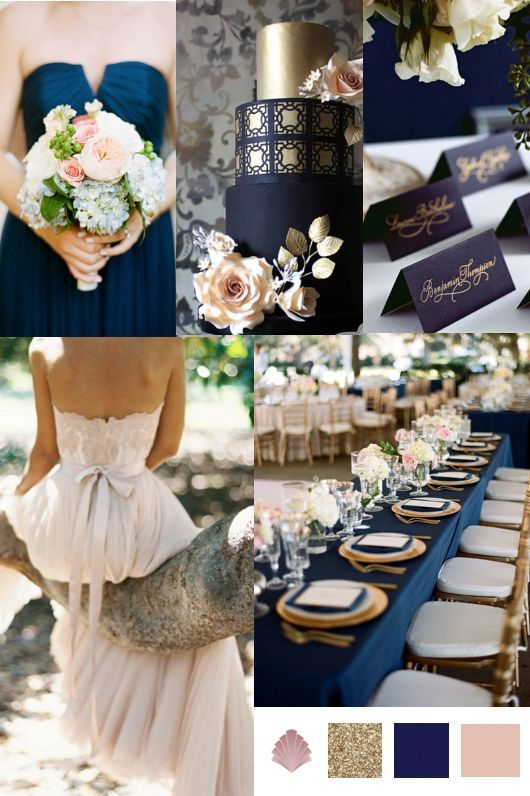 For a sophisticated wedding day palette, team luxurious navy with flashes of metallic gold and delicate blush pink for an opulent yet effortless colour scheme.