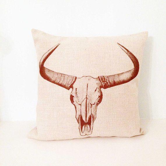 Cushion Cover 45 x 45cm, Cow Head Cushion Cover, Cushion Cover, Minimalist Cushion Cover, Boho Pillow, Cushion Cover, 45 x 45 Cushion Cover, Linen Cushion Cover