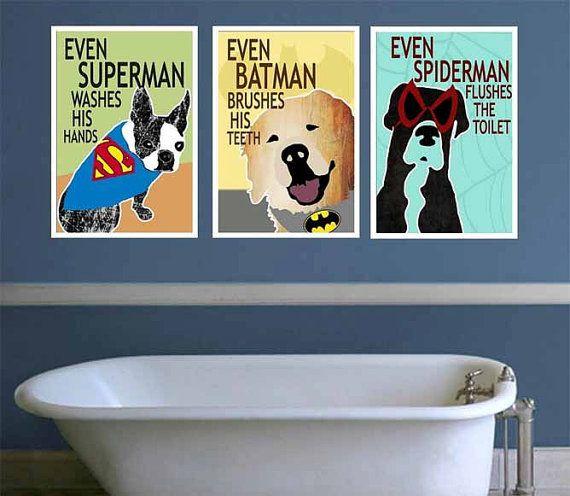 Superman Bathroom Decor: PRINTABLE Superhero Bathroom Decor Kids Superhero Bathroom