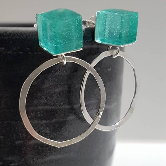 Check out this item in my Etsy shop https://www.etsy.com/listing/531439540/square-earrings-silver-circle-stud