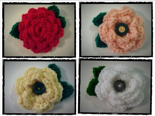 Crochet flowers for decorating hats, scarves ,hairpins etc (no pattern here)