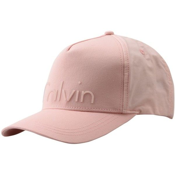Calvin Klein Hat ($44) ❤ liked on Polyvore featuring accessories, hats, light pink, ball cap hats, baseball hats, logo ball caps, baseball caps and ball cap