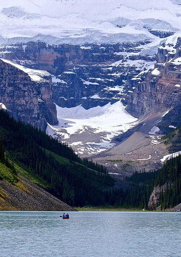 Canoe on Lake Louise, Banff National Park, Alberta Canada