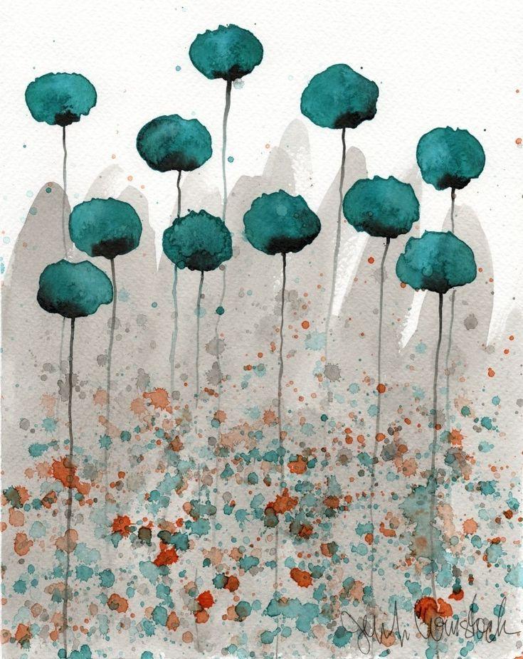 SALE - Buy 2 Get 1 FREE -- Watercolor Painting: Watercolor Flowers - Art Print - Mister Muscle - Teal Watercolor Flowers - 8x10. $20.00, via Etsy.