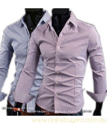 Men Luxury Casual Slim fit Stylish Long sleeve Dress Shirt 2 Colors 4 Size