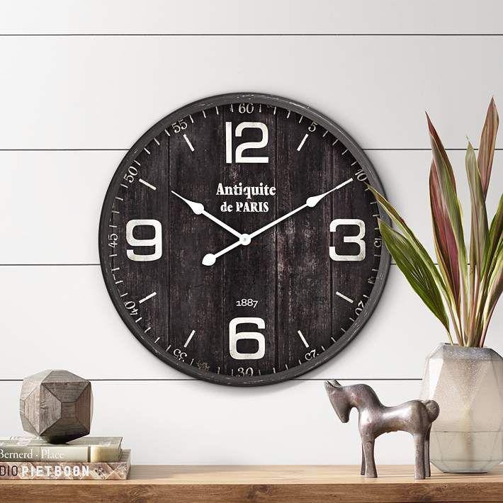 Antiquite De Paris 23 1 2 Brown Round Metal Wall Clock 31d70 Lamps Plus In 2020 Metal Wall Clock Wall Clock Vintage Wall Clock