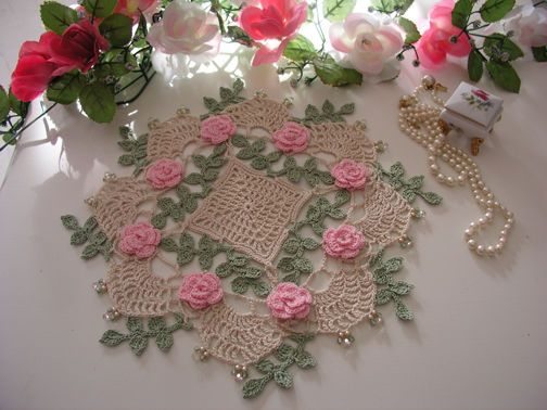 Rose Doily, Cottage Chic, Beaded, Crochet Doilies
