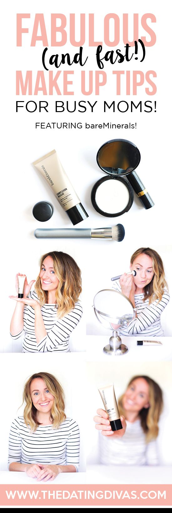 Quick makeup tips for Moms on-the-go with bareMinerals! www.TheDatingDivas.com @bareMinerals #BareMinerals #MorningRescue