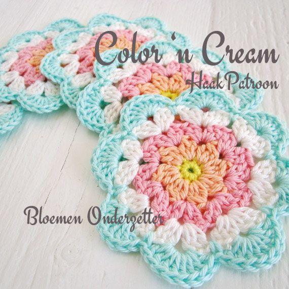 Crochet Pattern Flower Coaster PDF DUTCH