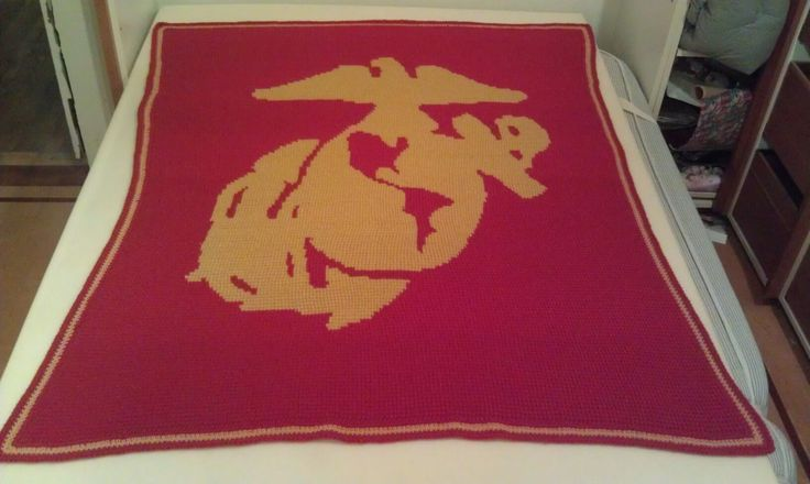 Tunisian Crochet blanket with US Marine Corps logo ...