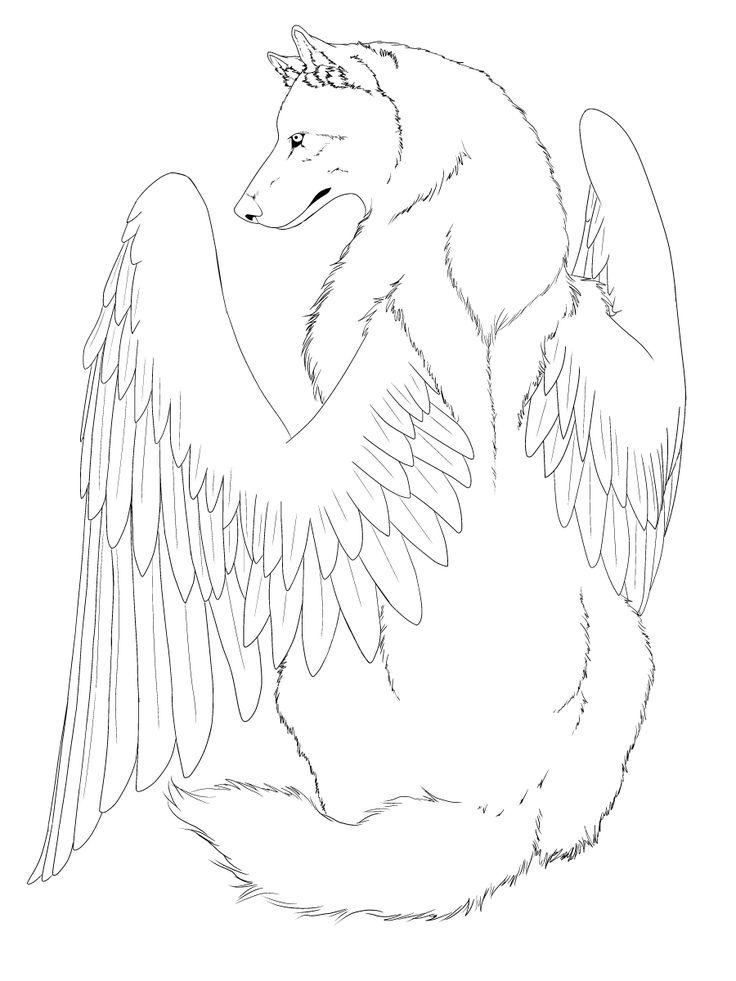 Winged Wolf line art -edited- by CrimsonWolfSobo.deviantart.com on @deviantART