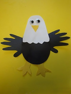Eagle handprint craft for Save the Eagles Day (Jan. 10)