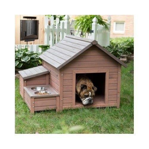 Heated Dog House Large Wood Raised Floor Outdoor Pet
