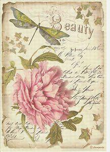 Ricepaper Para Decoupage decopatch Scrapbook Craft Hoja flor de peonía
