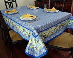 Toalha de Mesa Artesanal Azul Xadrez www.elo7.com.br/ateliepintaeborda