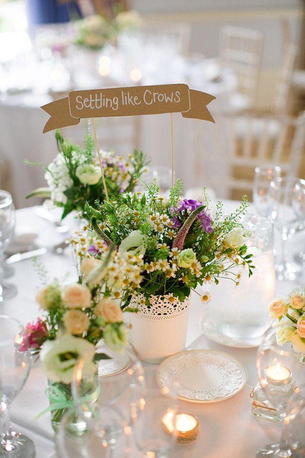 springtime florals and kraft paper table names | onefabday.com