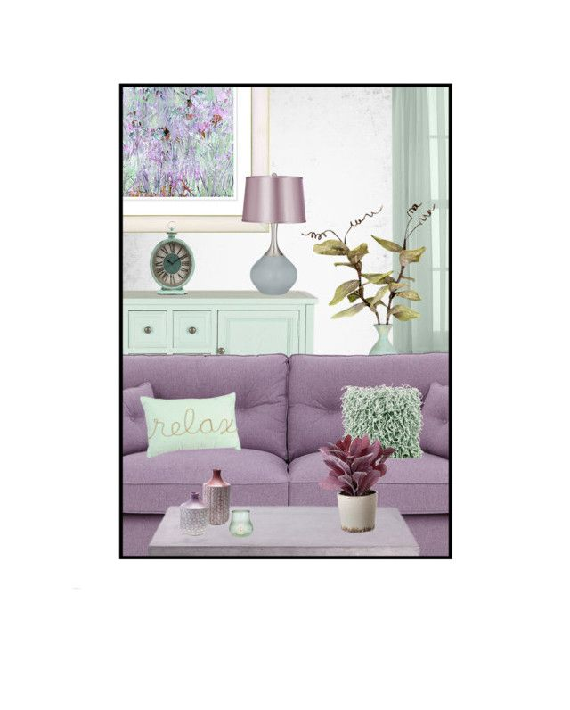 """Lilac & Mint Living Room"" by leanne-mcclean ❤ liked on Polyvore featuring Martha Stewart, Dot & Bo, Urbia, Mina Victory, Cultural Intrigue, Torre & Tagus and living room"