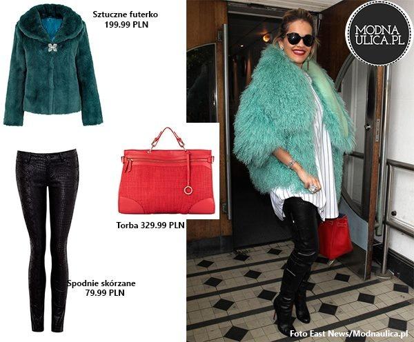 Rita Ora wschodząca gwiazda muzyki pop, uwielbia bawić się modą. Sztuczne, seledynowe futro, czerwona torebka i skórzane spodnie. Macie ochotę na taki look? Ubrania czekają na Was w TK Maxx!