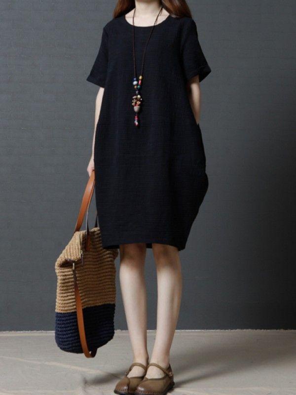 簡潔着心地いいラウンドネック半袖ゆったりカジュアルワンピース リネン ワンピース - レディースファッション激安通販|20代·30代·40代ファッション