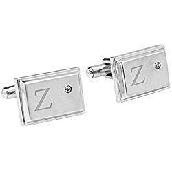 Personalized Zircon Jewel Stainless Steel Cuff Links, Letter Z