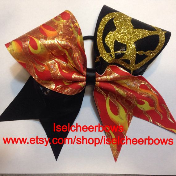 Hunger Games Cheer bow-Glitter gold, shiny yellow, shiny red and black cheer bow