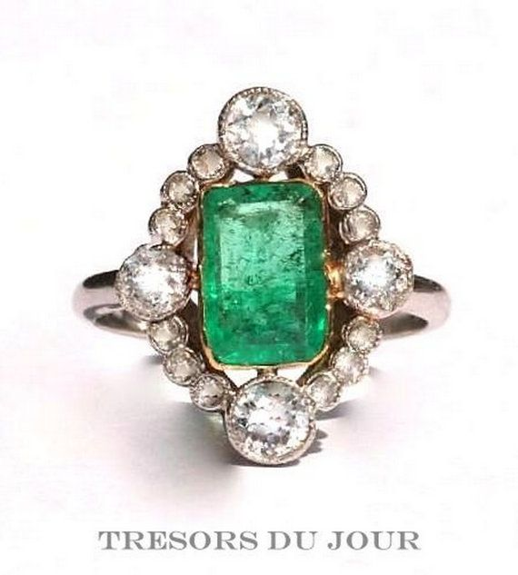 Emerald Engagement Ring, EMERALD Diamond Edwardian style Halo Engagement RING in 18kt yellow and white gold band with conflict free diamonds