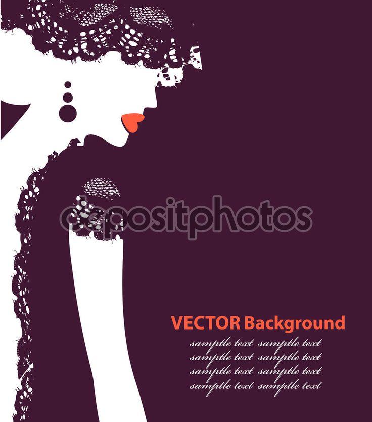 Красивые женские лица силуэт в профиле. Свадебный дизайн вектор — стоковая иллюстрация #62265963