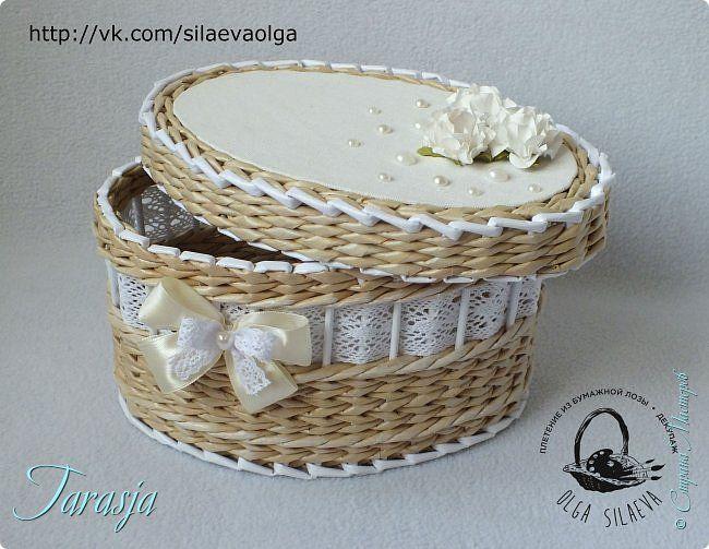 Поделка изделие Свадьба Плетение Свадебная шкатулка Бумага Бумага газетная Трубочки бумажные фото 6