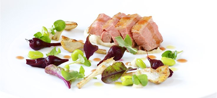 Oven-Roasted Rump of Lamb with Baby Artichokes, Beet and Fennel Puree