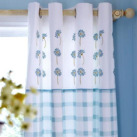 Duck Egg Daisy Thermal Eyelet Curtains | Dunelm