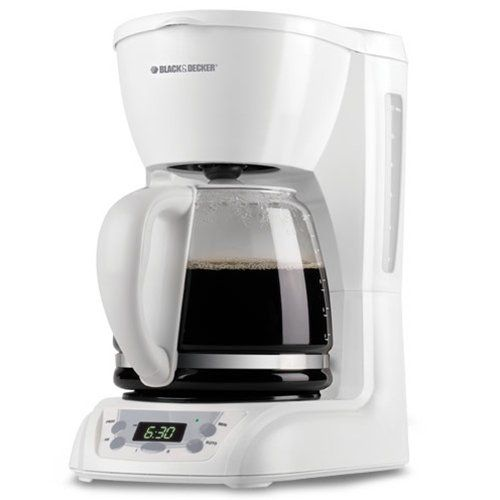 Black Decker Dlx1050w 12 Cup Programmable Coffeemaker With Gl Carafe White
