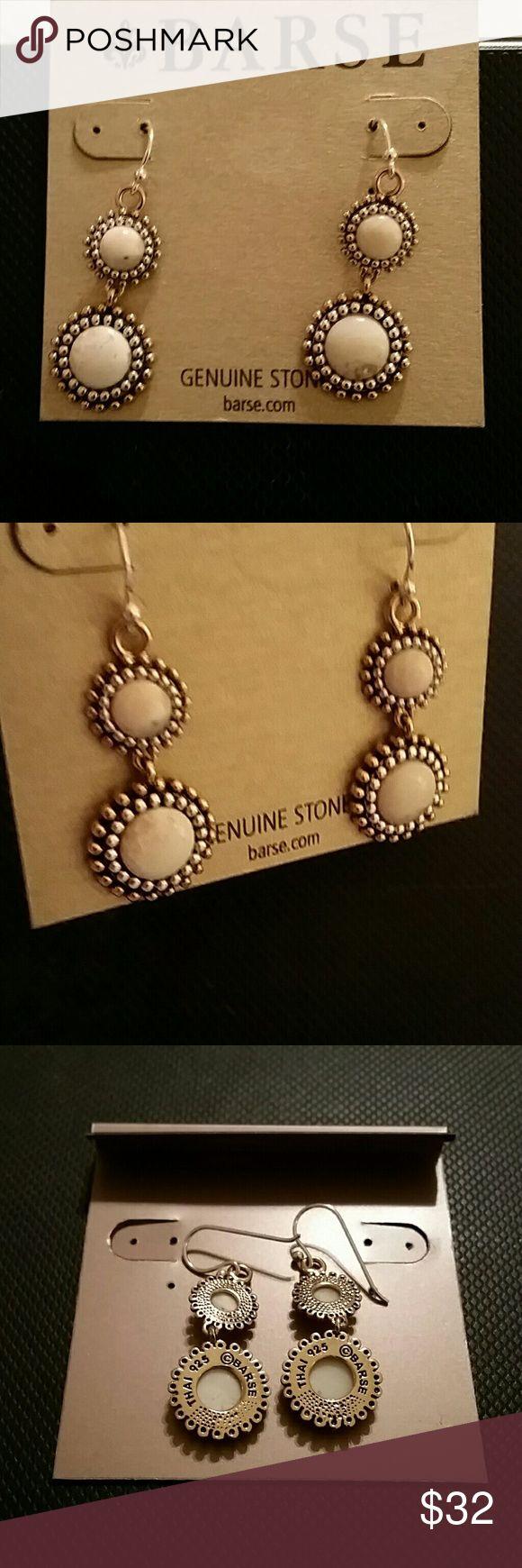 Barse Orbit African Opal drop earrings Beautiful ivory, cream colored opal earrings in bronze metal. Barse Jewelry Earrings