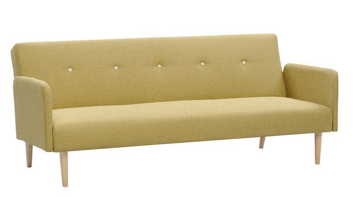 Aino-vuodesohva on muotoilultaan siro ja rakenteeltaan kevyt. Kuvan sohvassa on harmaanbeige verhoilukangas.