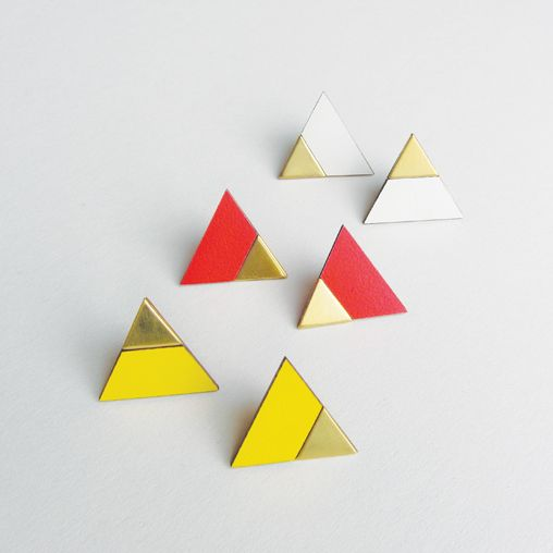 Brass and Formica triangle earrings. Collection 2014.