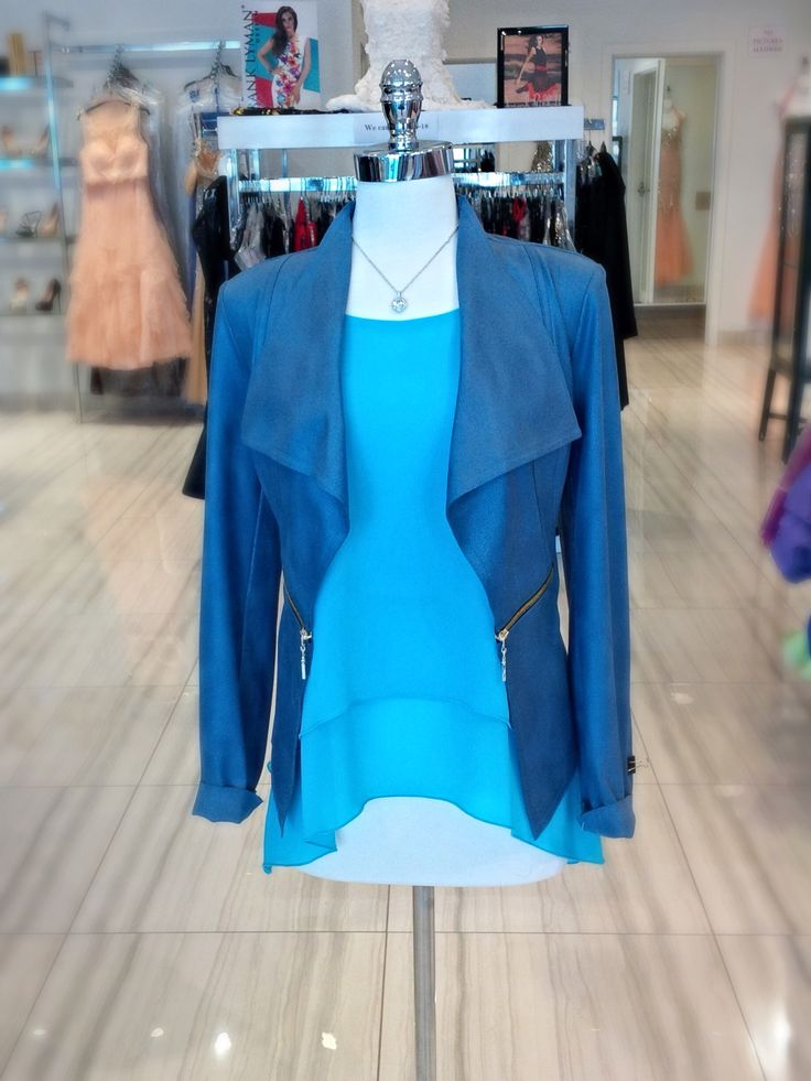 Here is a stunning blazer and tank combo! This stunning suede jacket with stunning zippers paired with a light weight beautiful blue layered tank perfect for that summer look! #classic #classicboutique #blazor #love #summerfashion #classy #perfect #eastqwillimbury #pickeringtowncenter