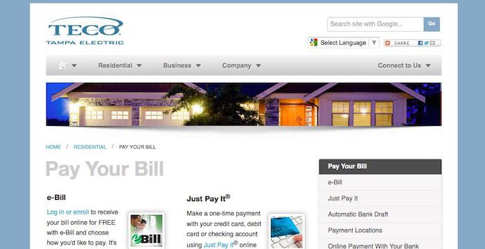 tampaelectric.com pay bill