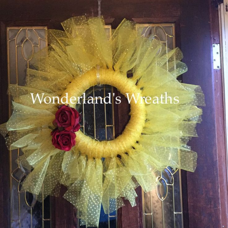 Another wreath up in my princess tulle collection. Tulle Beauty and the Beast wreath. Disney inspired wreath/ girls room/ nursery/ birthday party Wonderlandswreaths.etsy.com