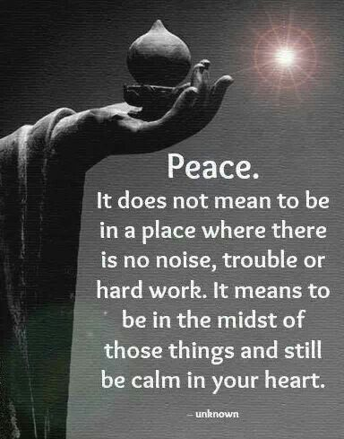 Peace. It does not mean to be in a place where there is no noise, trouble or hard work. It means to be in the midst of those thongs and still be calm in your heart. Buddha More