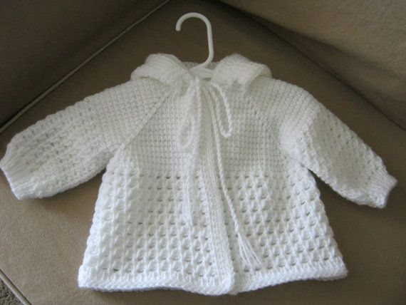 White Crochet Baby Sweater with Hood for Boy or Girl -  0-3 Months in Tunisian Crochet - Handmade on Etsy, $35.00