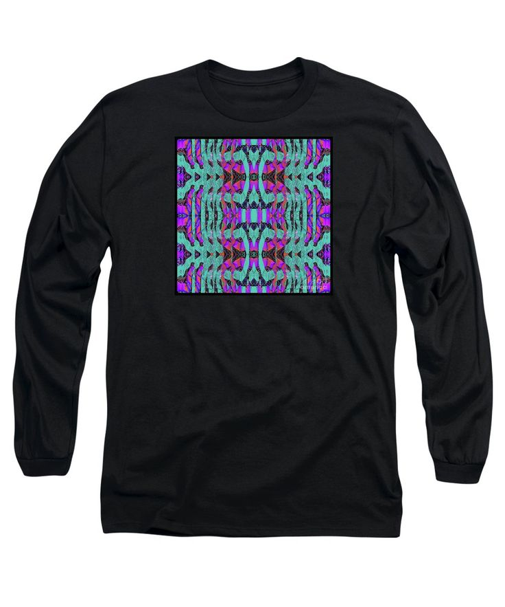 Colorful Patterns Looking Like Pleated Fabric Long Sleeve T-Shirt featuring the digital art Pleated by Expressionistart studio Priscilla Batzell
