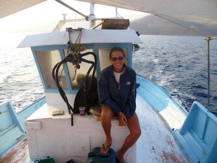 Jen on the fishing boat