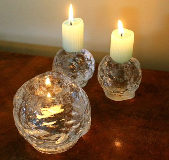 Vintage Kosta Boda Snowball Candle Holders 3 Ice Crystal